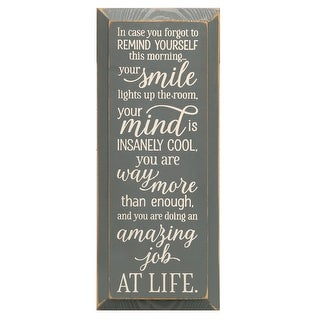 "Sawdust City Self Inspirational Plaque Wall Sign, In Case You Forgot Daily Affirmation, Distressed Pine, 18"" x 7"""