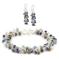 Blue Jean Baby/Blue Denim - Chainmaille Bracelet & Earrings Jewelry Kit