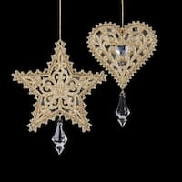 Pack of 24 Glitter Drenched Filigree Cut-Out Heart and Star Crystal Accented Christmas Ornaments 6""