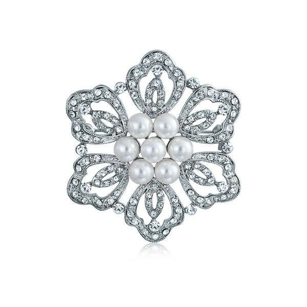 Bling Jewelry White Imitation Pearl Flower Elegant Mum Brooch Pin Crystal Rhodium Plated