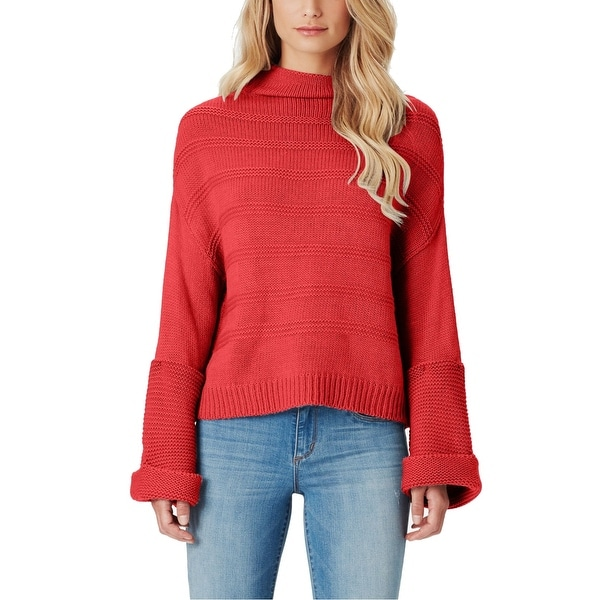 Jessica Simpson Women's Red Size XL Bell Sleeve Turtleneck Mock Sweater