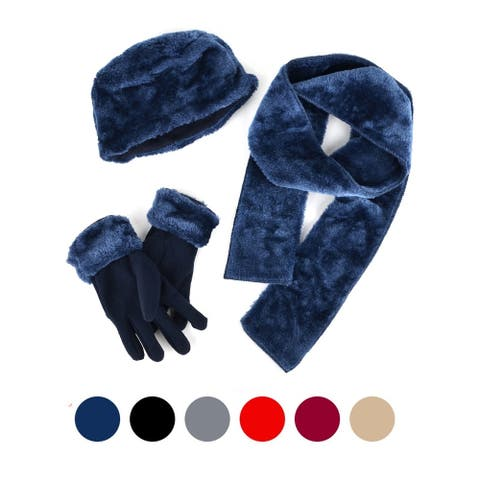 Women's Plush Faux Fur and Fleece 3 Piece gloves scarf Hat Winter Set - One Size