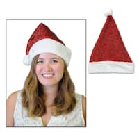 Pack of 12 Metallic Red and Faux Fur Trimmed Christmas Santa Hats - White