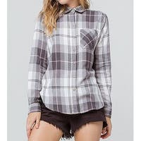 Polly & Esther Gray Womens Size Medium M Plaid Button Down Shirt