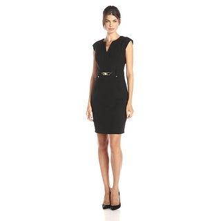 Calvin Klein Cap Sleeve Buckled Sheath Dress with Goldtone Accents Black 4