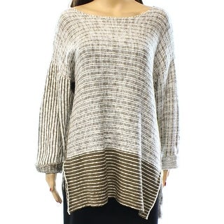 Multiples NEW Brown Ivory Women's Size Large L Boat Neck Stripe Sweater