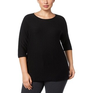 Anne Klein Womens Plus Pullover Sweater Jeweled Short Sleeves