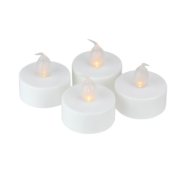 Pack of 4 LED Lighted Battery Operated Flicker Flame White Christmas Tea Light Candles - N/A