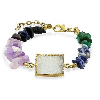 Bling Jewelry Gold Plated White Druzy Agate Mixed Gemstone Healing Bracelet 7in