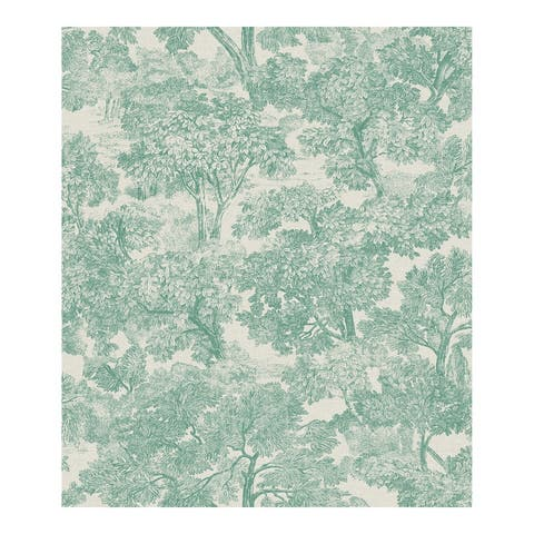 Blyth Teal Toile Wallpaper - 20.5 x 396 x 0.025