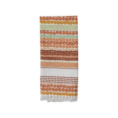 Foreside Home & Garden Mulitcolor Dot Pattern 27 x 18 Inch Woven Cotton Kitchen Tea Towel with Hand Sewn Fringe