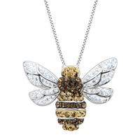 Bumblebee Pendant with Crystals in Sterling Silver - White