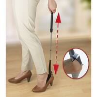 """Stainless Steel Grip N Slip Extendable Shoe Horn With Shoe Holder - 31"""""""