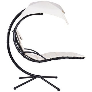 Gymax Beige Swing Hammock Chair Hanging Chaise Lounger Chair Arc Stand Canopy