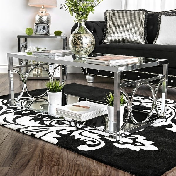 Silver Orchid Pehrson Contemporary Glass Top Coffee Table. Opens flyout.