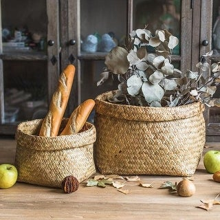 G Home Collection Rustic Natural Straw Storage Basket Large (Set of 2)