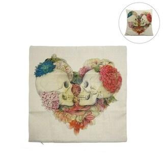 Halloween Square Linen Heart-shape Skull Printed Car Throw Cushion Pillow Cover Home Decor