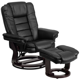 Contemporary LeatherSoft Recliner with Horizontal Stitching and Ottoman