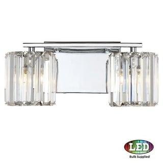 """Platinum PCDV8602LED Divine 2 Light 14"""" Wide Bathroom Vanity Light with Crystal Cylinder Shades"""