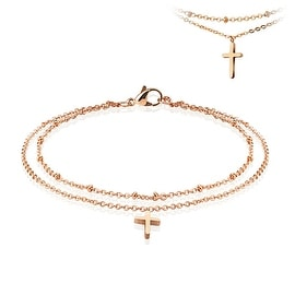 Cross Dangling Charm Rose Gold Stainless Steel Beaded Double Link Chain Anklet/Bracelet (13.5 mm) - 9.5 in