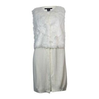 Alfani Women's Faux-Fur Knit Long Vest Cardigan (M, Cloud) - Cloud