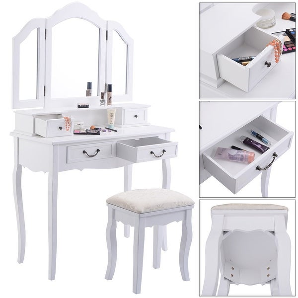 Tri Folding Mirror White Wood Vanity Set Makeup Bathroom Table Dresser 4 Drawers + Stool by Generic