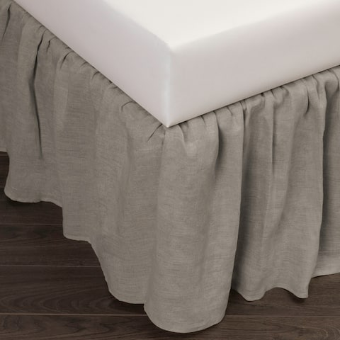 Cottage Home Sillo Grey Linen 3 Piece Tuck In Bed Skirt