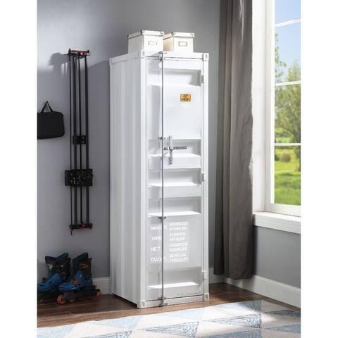 Q-Max White 1 Metal Door Recessed Panels Wardrobe (Single Door)