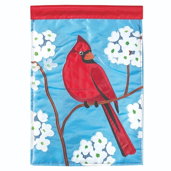 "42"" Red Cardinal and Floral Garden Flag - N/A"