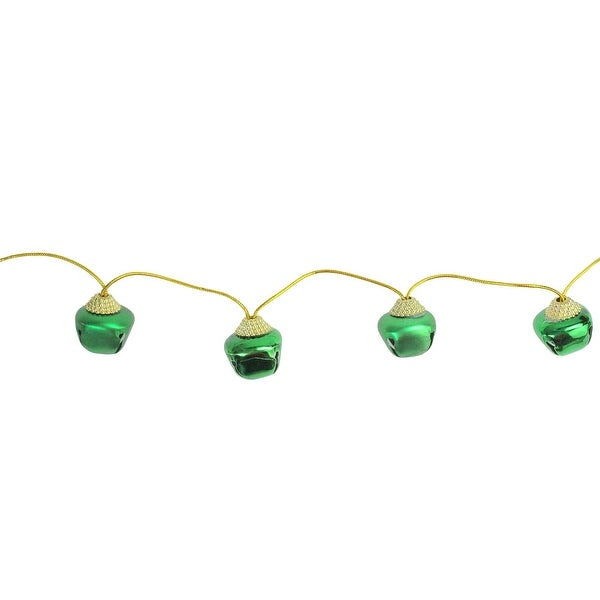 Metal Green Matte and Shiny Jingle Bell Christmas Garland