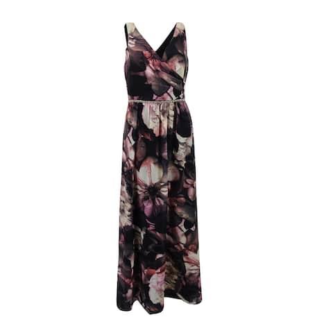 SL Fashions Women's Floral-Print Surplice Gown - Plum/Multi