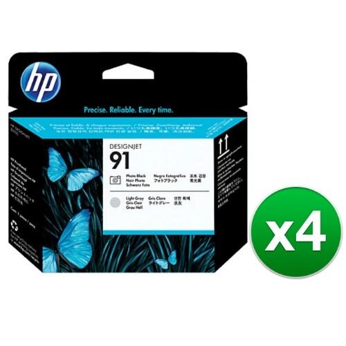 HP 91 Photo Black & Light Gray DesignJet Printhead (C9463A) (4-Pack)