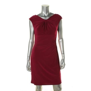 Lauren Ralph Lauren Womens Petites Casual Dress Front-Knot Sheath