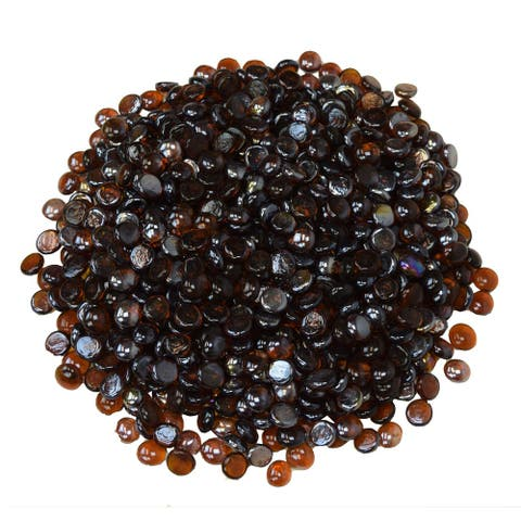 Amber Iridescent Half Round Tempered Glass Beads for Fire Table Burners-10 Lbs.