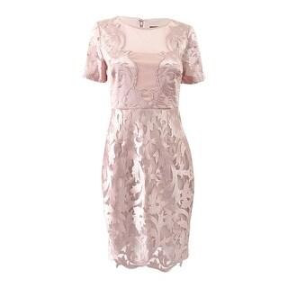 JAX Women's Embroidered Illusion Sheath Dress (4, Blossom) - Blossom - 4