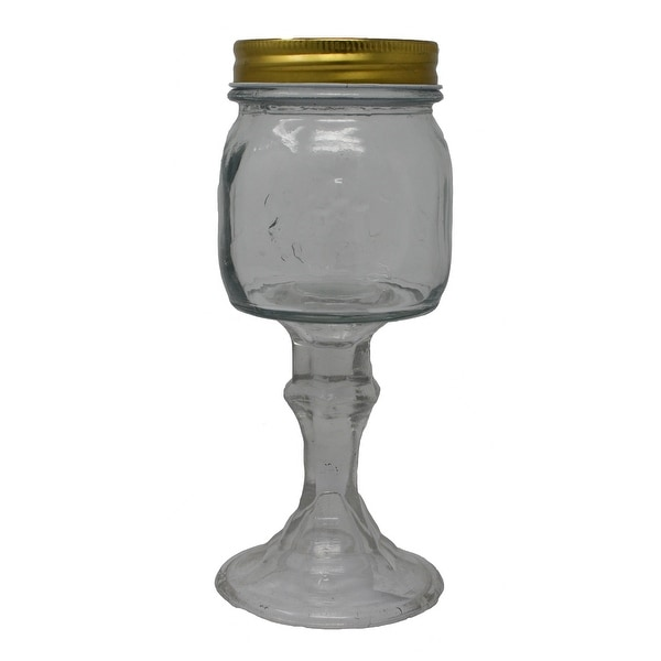 """6.5"""" Clear Small Jar with Gold Color Removable Lid - 9.5 oz - N/A"""