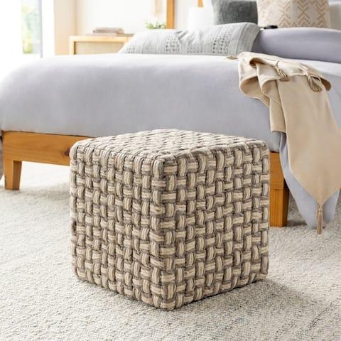 Luisa Modern Wool Basket weave 18-inch Square Pouf