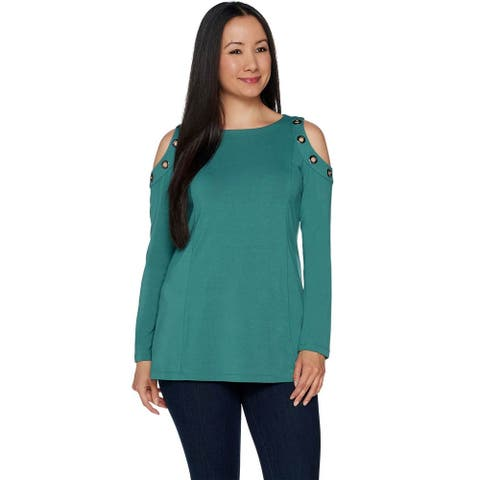 Belle by Kim Gravel Womens Plus Cold Shoulder Top with Grommets 1X Green A292968