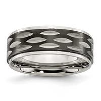 Chisel Stainless Steel Polished Black IP-plated 8mm Grooved Ring