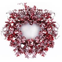 "Pack of 2 Artificial Red Mixed Berry Christmas Wreaths with Snow 24"" - Unlit"