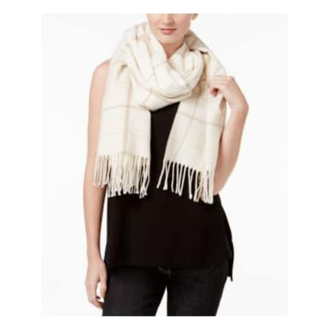 EILEEN FISHER Womens Beige Cotton Striped Sparkle Fringed Winter Scarf - ONE SIZE