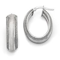 Italian 14k White Gold Glitter Hoop Earrings