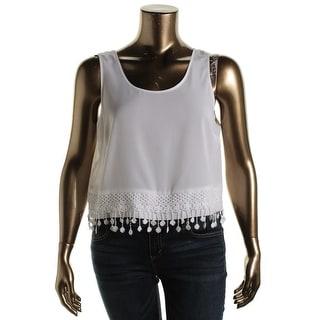 Kensie Womens Sheer Lace-Trim Casual Top