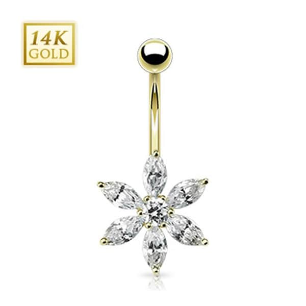 """14 Karat Solid Yellow Gold Navel Belly Button Ring with Multi CZ Prong Petal Flower - 14GA 3/8"""" Long"""