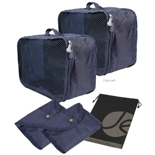 JAVOedge 2 Pack Dark Blue Foldable / Collapsing Packing Cube with Zipper Closure and Handles with Bonus Drawstring Bag