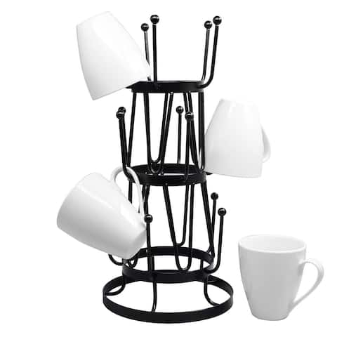Steel Mug Tree Holder Organizer Rack Stand (Black)