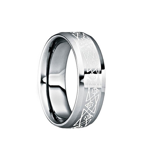 NONUS Engraved White Abstract Triangle Tungsten Ring with Polished Finish by Crown Ring
