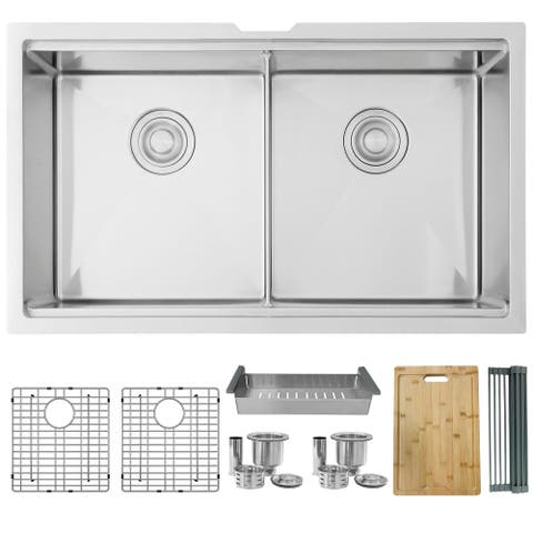 32 inch Workstation Double Bowl Undermount Kitchen Sink with Built in Accessories