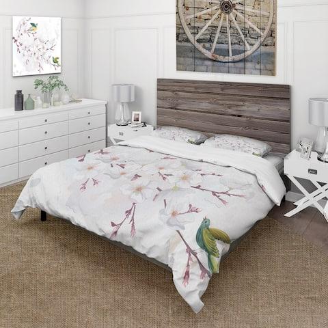 Designart 'Blossoming Cherry Tree' Traditional Duvet Cover Set