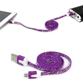 JAVOedge Flat Zebra Micro USB Sync & Charge Cable (Black)